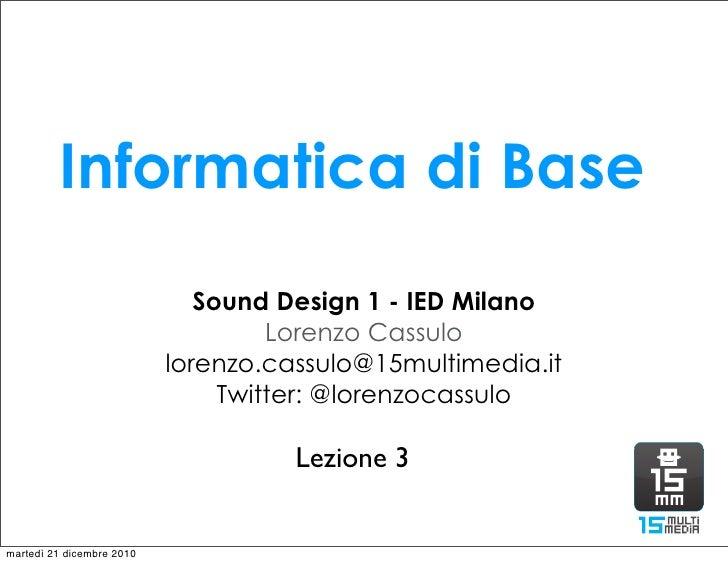 Lezione 3   sound design 1