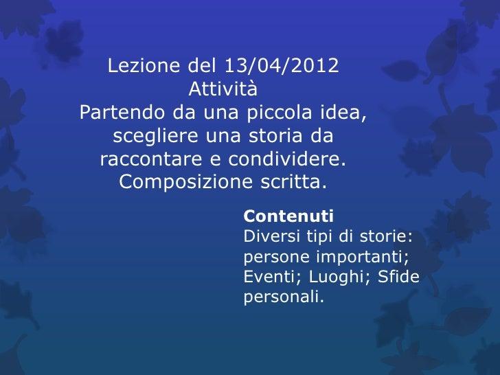 Lezione del  13 aprile 2012