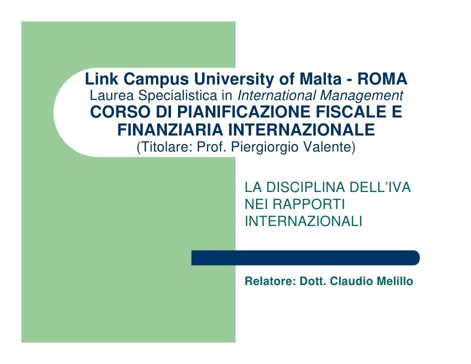 Link Campus University of Malta - Lezione n. 2 - Iva internazionale