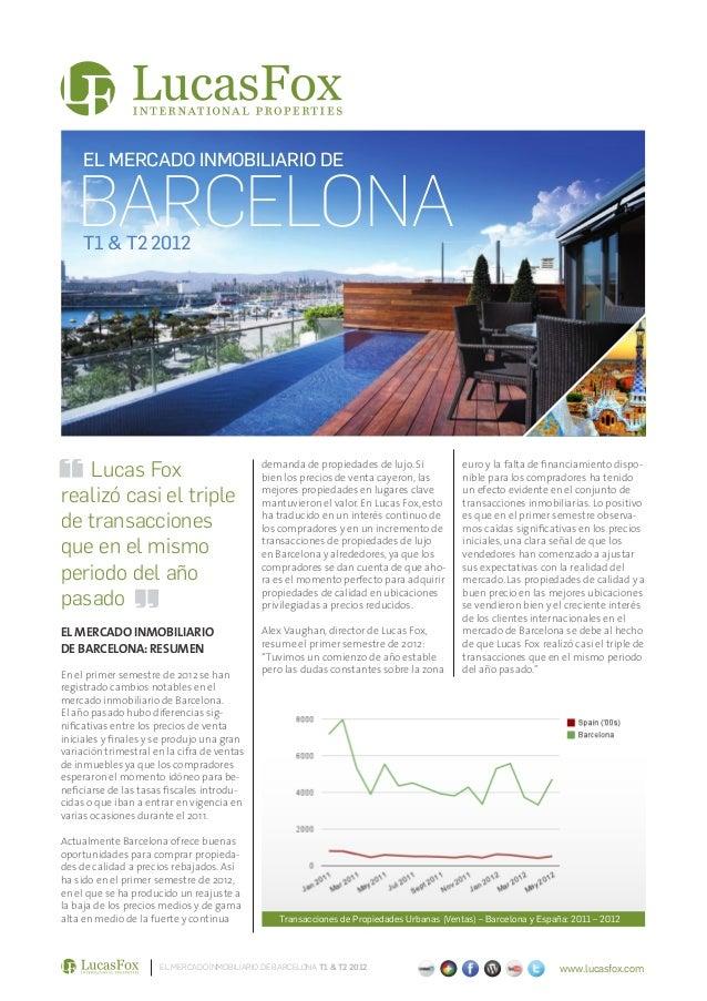 EL MERCADO INMOBILIARIO DE   BARCELONA     T1 & T2 2012   Lucas Fox                                 demanda de propiedades...