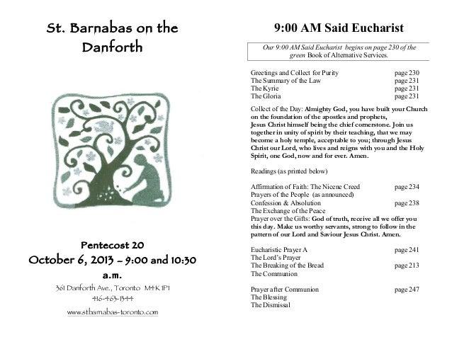 Leaflet - St Barnabas on the Danforth - 6 Oct 2013