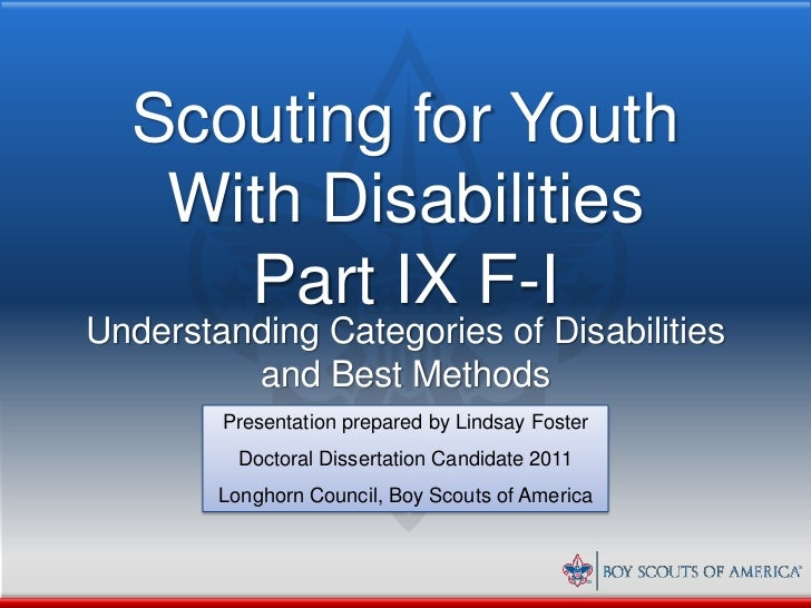 Scouting for Youth   With Disabilities     Part IX F-IUnderstanding Categories of Disabilities         and Best Methods   ...