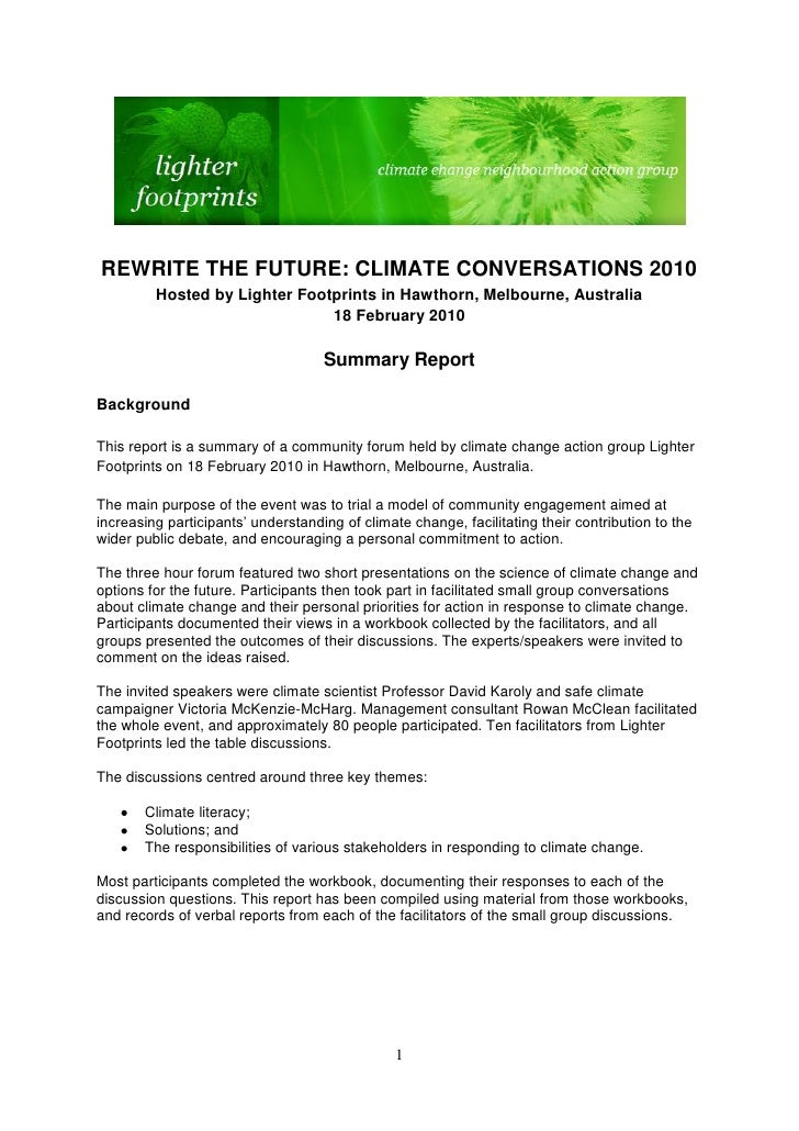 REWRITE THE FUTURE: CLIMATE CONVERSATIONS 2010         Hosted by Lighter Footprints in Hawthorn, Melbourne, Australia     ...