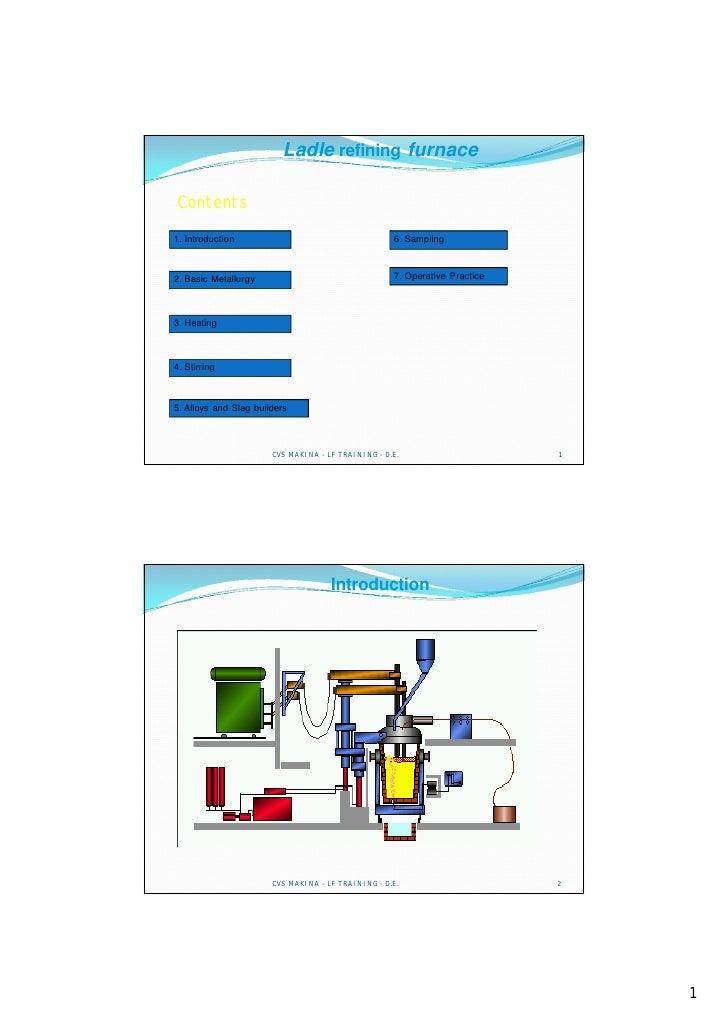 Ladle refining furnace  Contents 1. Introduction                                     6. Sampling    2. Basic Metallurgy   ...