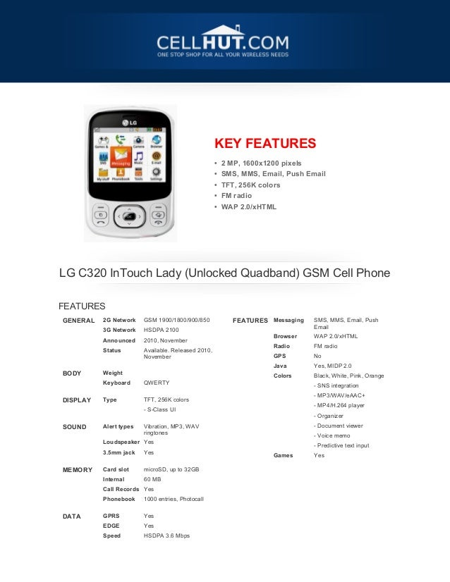 Lg c320-in touch-lady-unlocked-quadband-gsm-cell-phone-brochure_30204