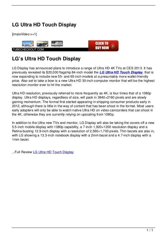 LG Ultra HD Touch Display                                   [imaioVideo v=1]                                   LG's Ultra ...