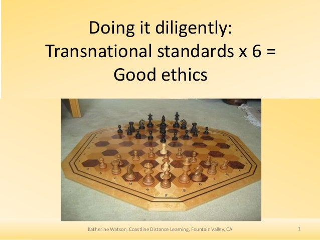 Doing it diligently: Transnational standards x 6 = Good ethics  Katherine Watson, Coastline Distance Learning, Fountain Va...