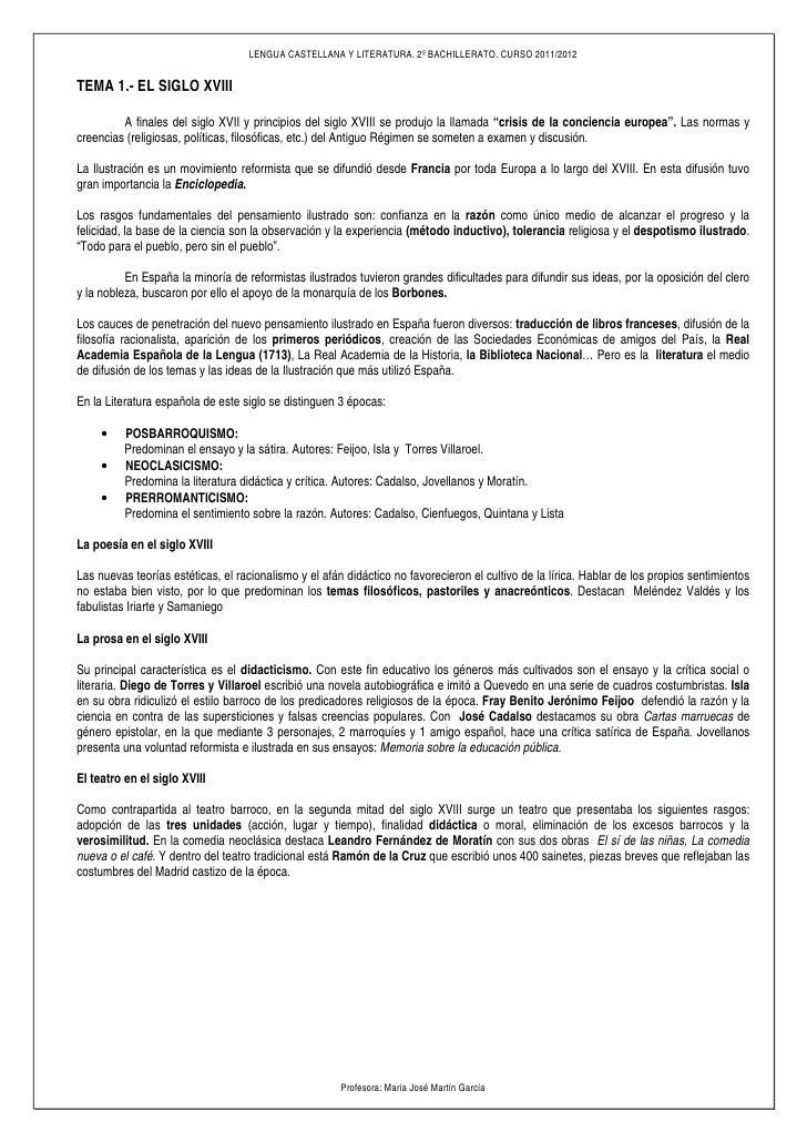 LENGUA CASTELLANA Y LITERATURA. 2º BACHILLERATO. CURSO 2011/2012TEMA 1.- EL SIGLO XVIII         A finales del siglo XVII y...