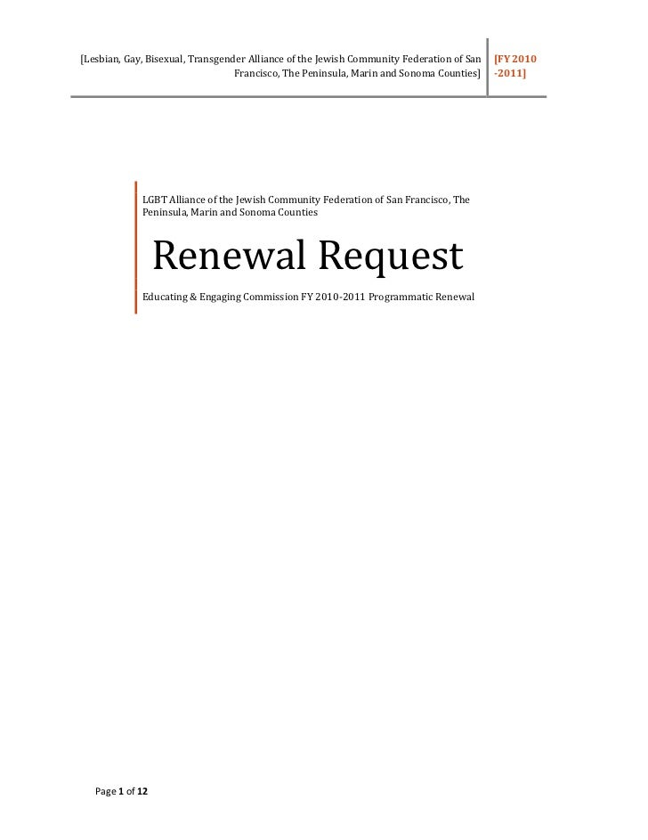 Renewal Grant Request 2010