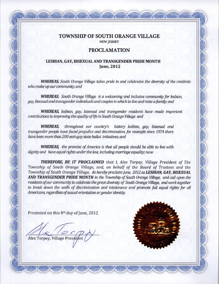 South Orange LGBT Pride Proclamation 2012 001