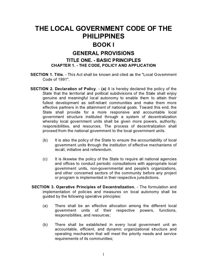 THE LOCAL GOVERNMENT CODE OF THE             PHILIPPINES                                   BOOK I                       GE...