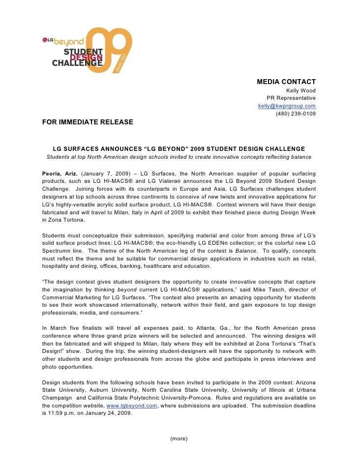 Lg Design Contest Press Release Fina Lv010709