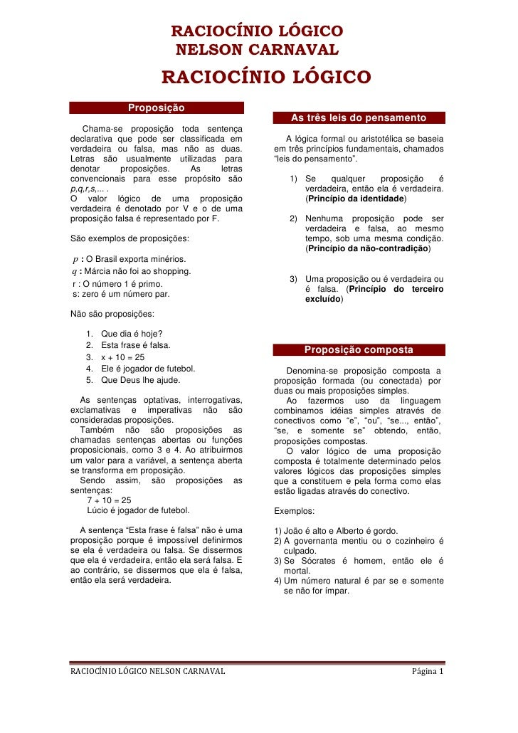 RACIOCÍNIO LÓGICO                           NELSON CARNAVAL                        RACIOCÍNIO LÓGICO                Propos...