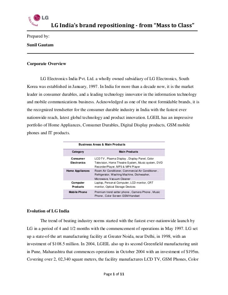 """project report of lg electronics india A research project report on """"a study on the effective promotional strategy influencing customer for the products of """" in partial fulfillment of (india."""
