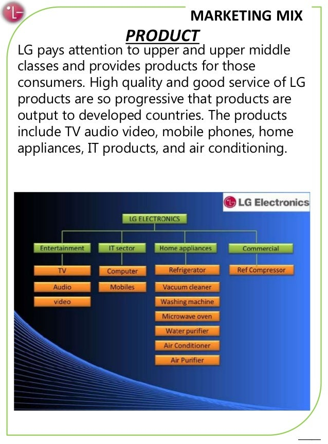 marketing mix of lg The vital objective of this report is to analysis marketing mix analysis of lg microwave oven of butterfly marketing limited other objectives of this reports are to understand the marketing functions of the company and find out the efficiency and effectiveness of existing marketing system here.