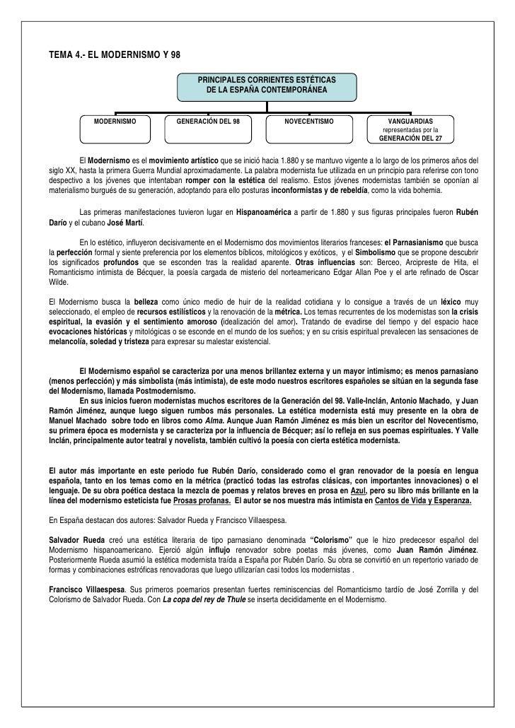 TEMA 4.- EL MODERNISMO Y 98                                              PRINCIPALES CORRIENTES ESTÉTICAS                 ...
