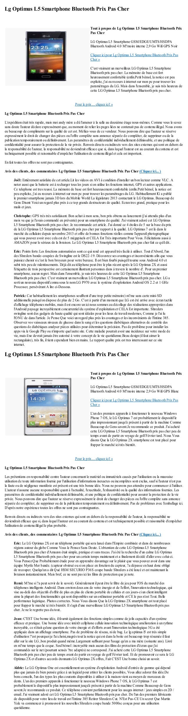 Lg Optimus L5 Smartphone Bluetooth Prix Pas CherPour le prix ... cliquez ici! »Lg Optimus L5 Smartphone Bluetooth Prix Pas...
