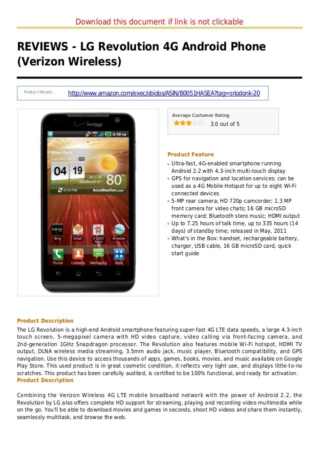 Download this document if link is not clickableREVIEWS - LG Revolution 4G Android Phone(Verizon Wireless)Product Details :...