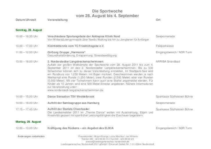 Die Sportwoche                                                 vom 28. August bis 4. SeptemberDatum/Uhrzeit             Ve...
