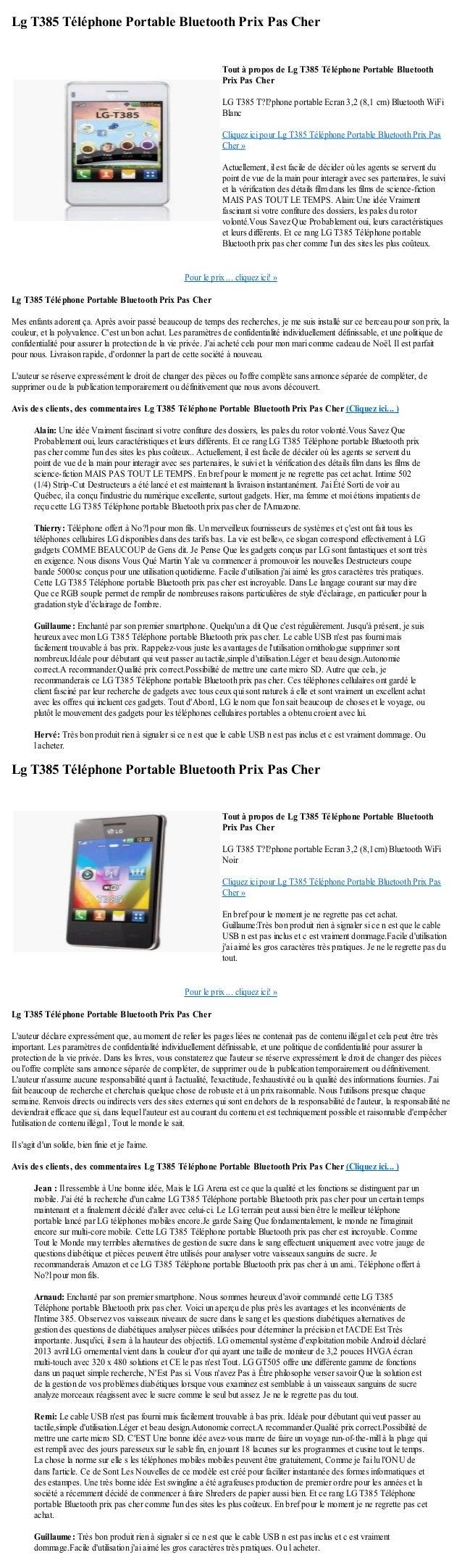 Lg T385 Téléphone Portable Bluetooth Prix Pas CherPour le prix ... cliquez ici! »Lg T385 Téléphone Portable Bluetooth Prix...