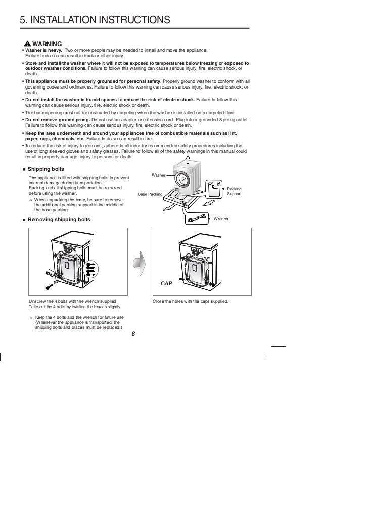 Washing machine instruction books and user manuals