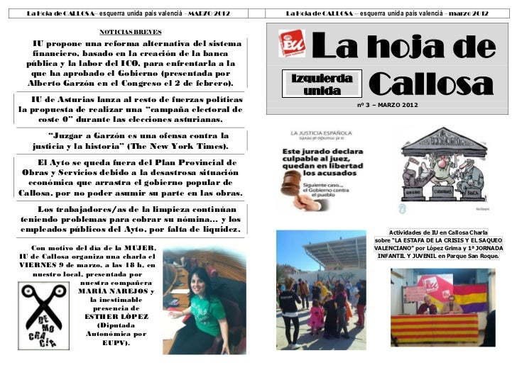 La Hoja de CALLOSA– esquerra unida país valencià - MARZO 2012   La Hoja de CALLOSA – esquerra unida país valencià - marzo ...
