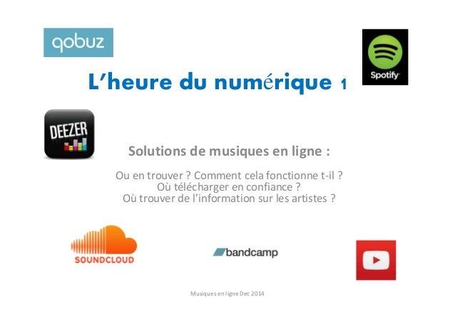 L'heure du numérique 1 Solutions de musiques en ligne : Ou en trouver ? Comment cela fonctionne t-il ? Où télécharger en c...