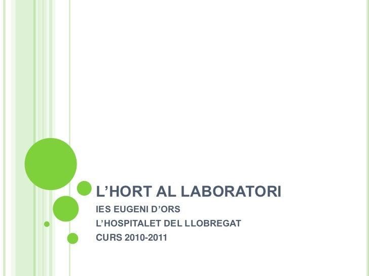 L'HORT AL LABORATORI<br />IES EUGENI D'ORS<br />L'HOSPITALET DEL LLOBREGAT<br />CURS 2010-2011<br />