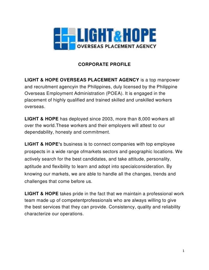 Light amp hope corporate profile sending company profile via email light hope corporate profile spiritdancerdesigns Image collections
