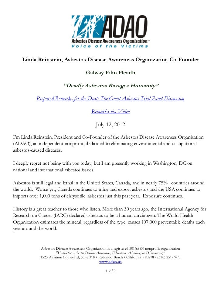 Linda Reinstein, Asbestos Disease Awareness Organization Co-Founder                                          Galway Film F...
