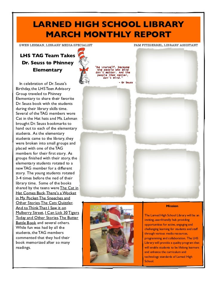 LARNED HIGH SCHOOL LIBRARY           MARCH MONTHLY REPORT GWEN LEHMAN, LIBRARY MEDIA SPECIALIST      PAM FITZGERREL, LIB...