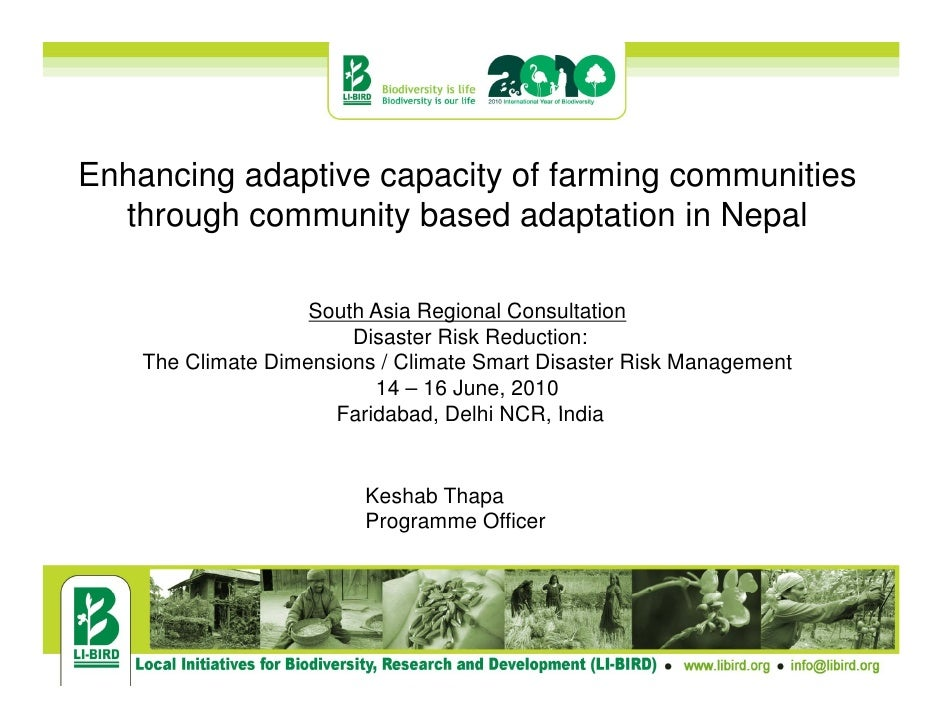 Nepal enhancing adaptive capacity of faming communities through community-based adaptation