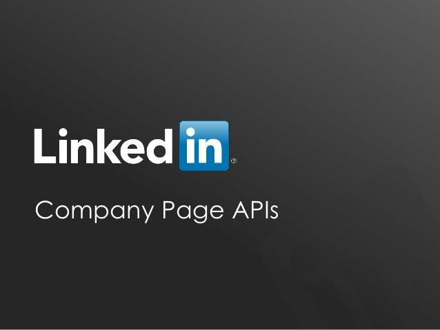 LinkedIn Company Page APIs