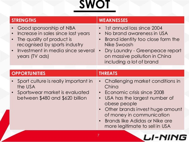 swot li ning Li ning – anything is possible since its foundation in 1990, li ning, a leading sporting goods company in the china, has been experimenting a high speedy development that became company in.