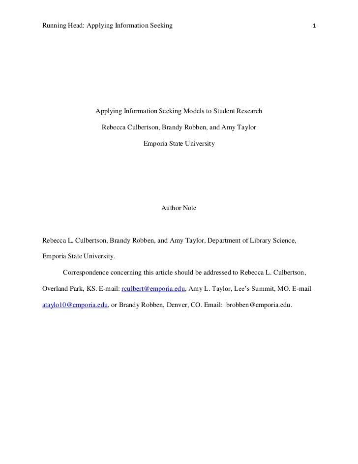Li802 Applying Information Seeking Models to Student Research
