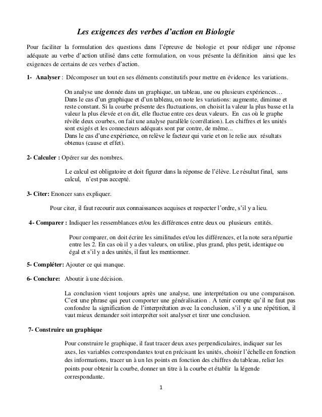1 Les exigences des verbes d'action en Biologie Pour faciliter la formulation des questions dans l'épreuve de biologie et ...