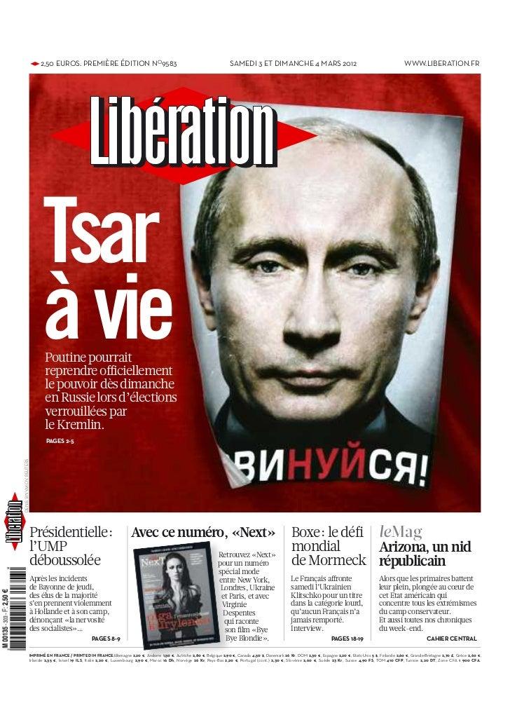 le journal liberation du 3-3-2012
