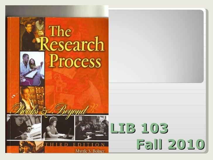 Lib 103 fall 2010 third ed textbook