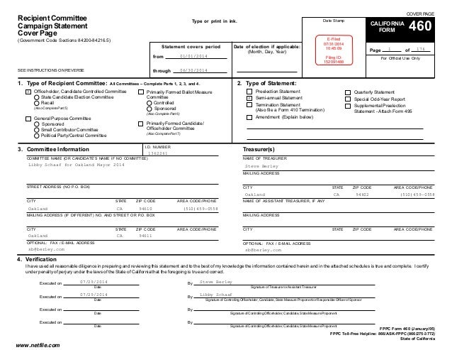 Libby Schaaf FPPC Form 460 1 1-14 to 6-30-14
