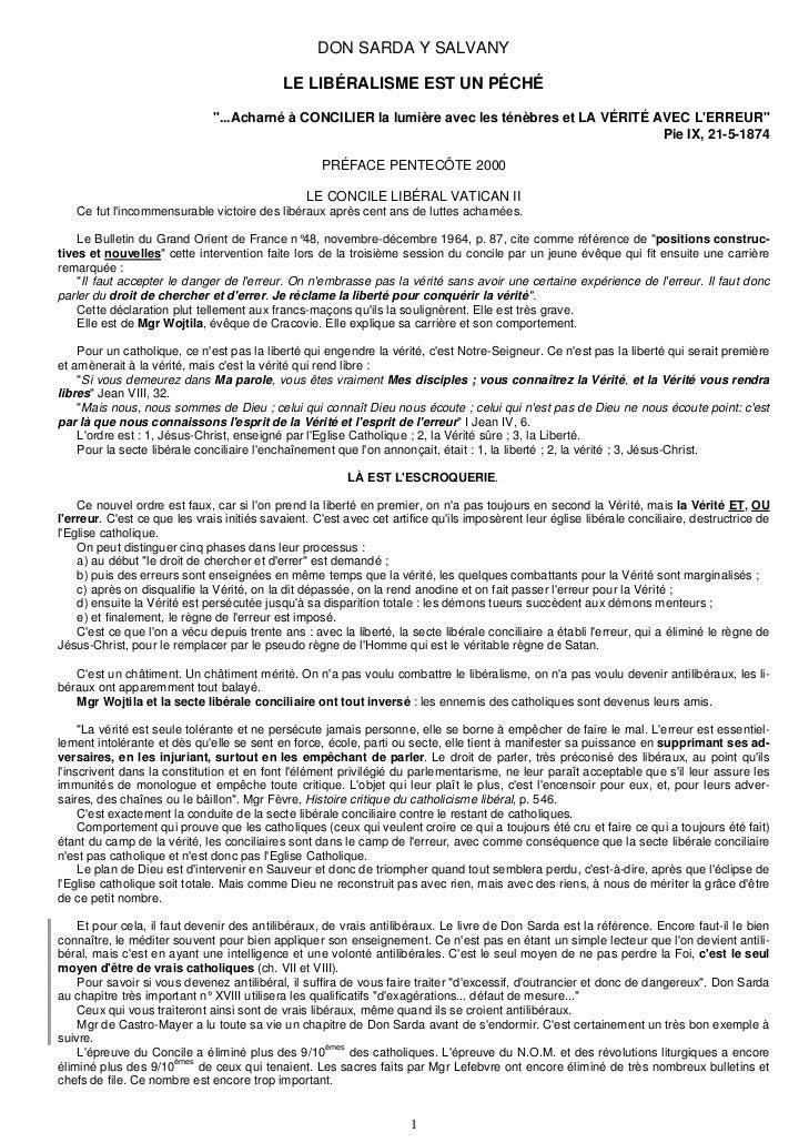 """DON SARDA Y SALVANY                                             LE LIBÉRALISME EST UN PÉCHÉ                              """"..."""