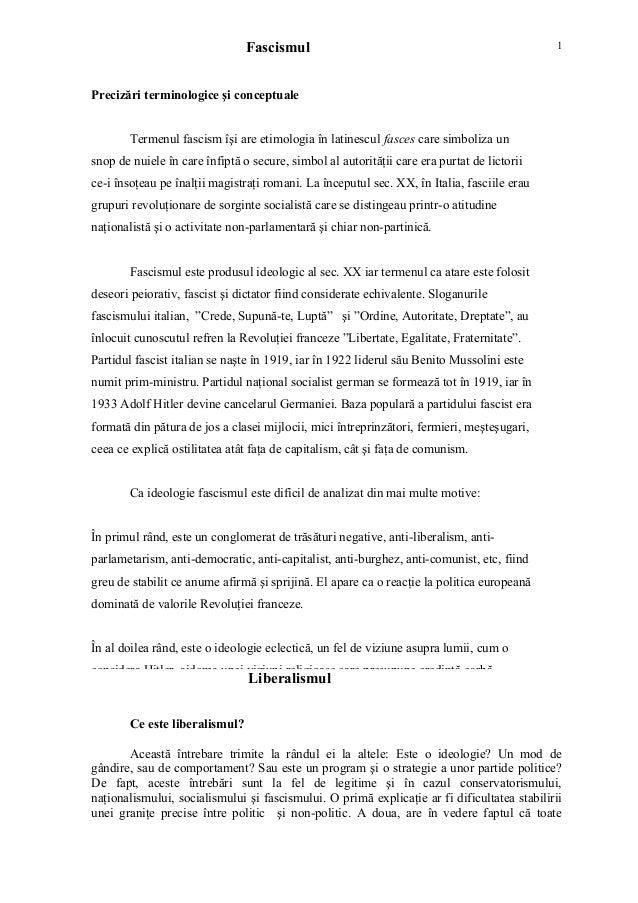 Fascismul Precizări terminologice şi conceptuale Termenul fascism îşi are etimologia în latinescul fasces care simboliza u...