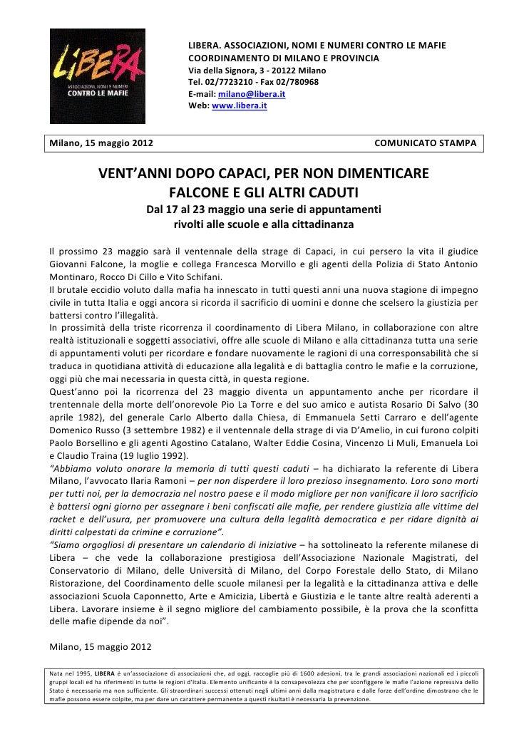 LIBERA. ASSOCIAZIONI, NOMI E NUMERI CONTRO LE MAFIE                                                  COORDINAMENTO DI MILA...
