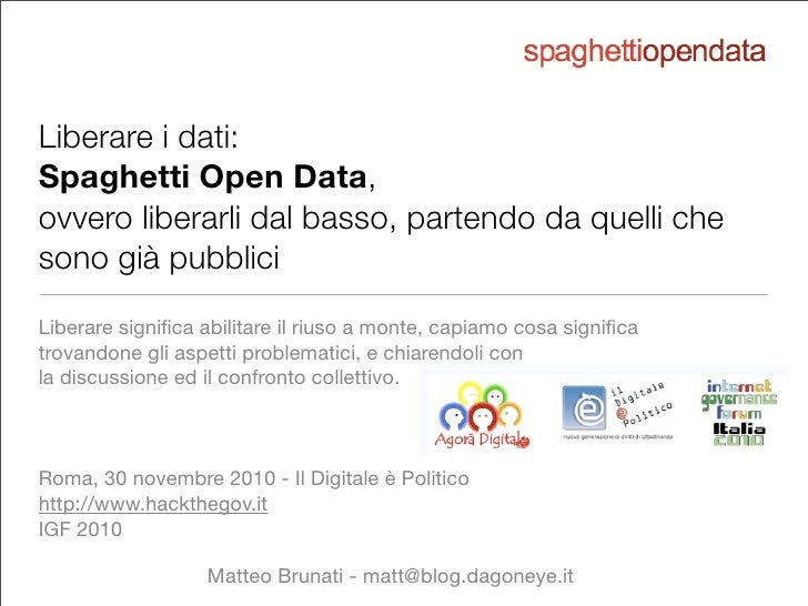 Liberare i dati - Spaghetti Open Data verso i Linked Open Data