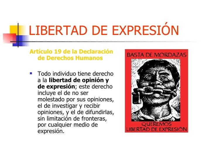 LIBERTAD DE EXPRESIÓN <ul><li>Artículo 19 de la Declaración de Derechos Humanos </li></ul><ul><li>Todo individuo tiene der...