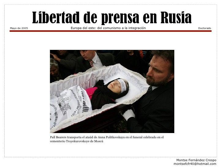 Montse Fernández Crespo [email_address] Mayo de 2005 Europa del este: del comunismo a la integración Doctorado Pall Bearer...