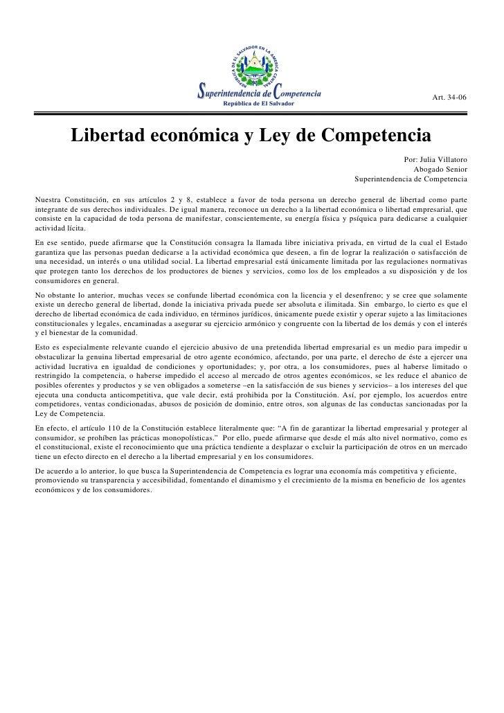 Libertad Económica Y Ley De Competencia