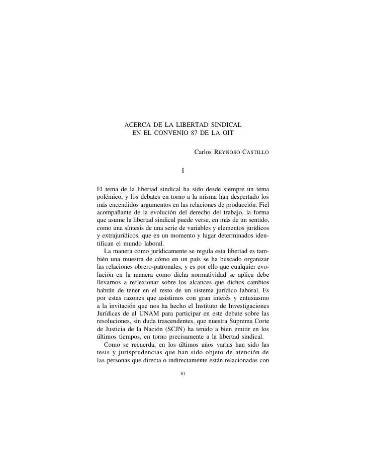 Libertad sindical, convenio 87 OIT