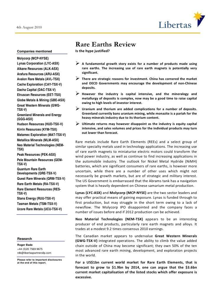 Rare Earth Review - Libertas Partners LLP