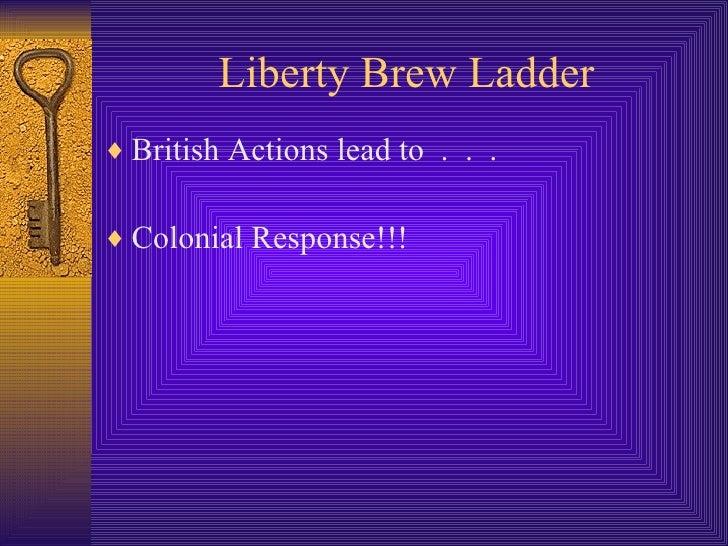 Liberty Brew Ladder <ul><li>British Actions lead to  .  .  . </li></ul><ul><li>Colonial Response!!! </li></ul>