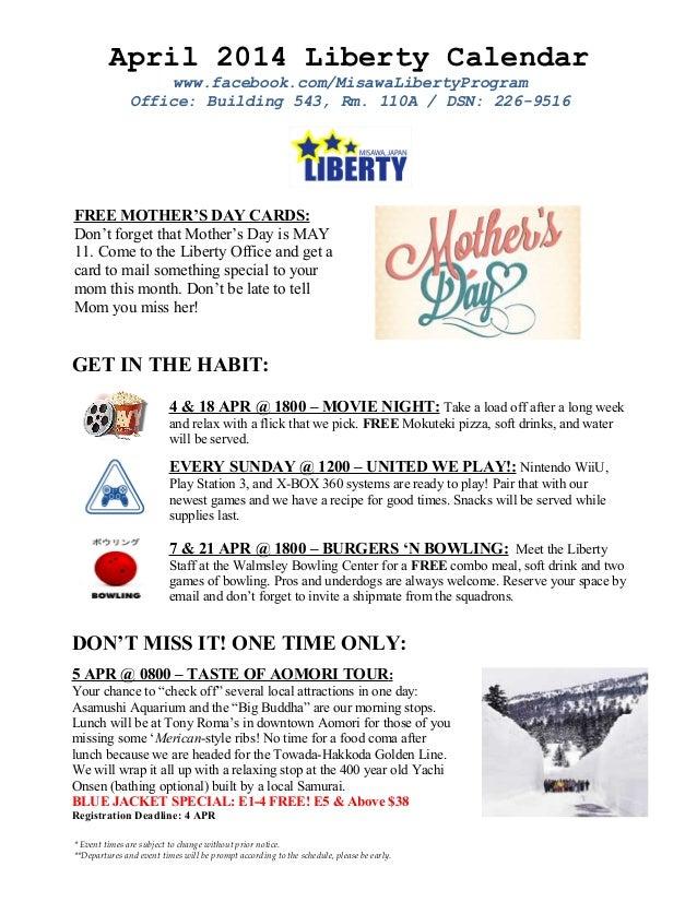 April 2014 Liberty Calendar www.facebook.com/MisawaLibertyProgram Office: Building 543, Rm. 110A / DSN: 226-9516 FREE MOTH...